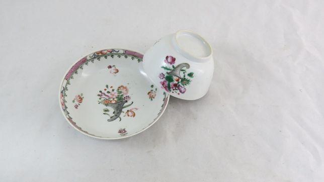 Taça+Pires Porcelana Chinesa Companhia Indias Família Rosa; Séc XVIII
