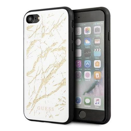Etui Guess do iPhone 7/8/SE 2020 biały/white hard case Glitter