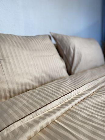 Комплект постельного белья с кантом, турецкий страйп сатин