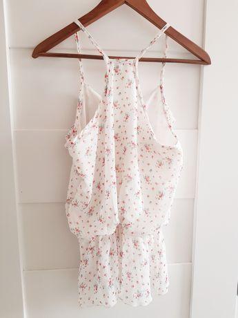 Lekka biała cienka bluzka top jasny w kwiaty na ramiączkach falbana M