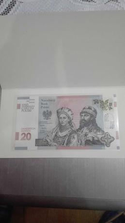 1050 rocznica Chrztu Polski 20 zł banknot kolekcjonerski