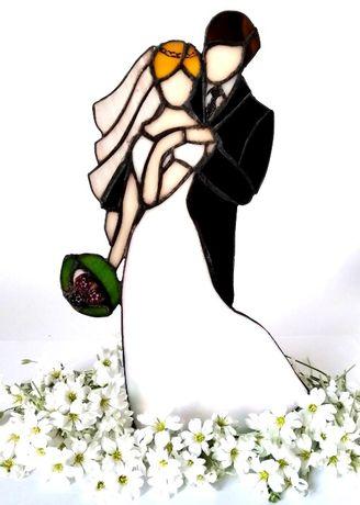 Rocznica Ślub Wesele Para Młoda Witraż rękodzieło