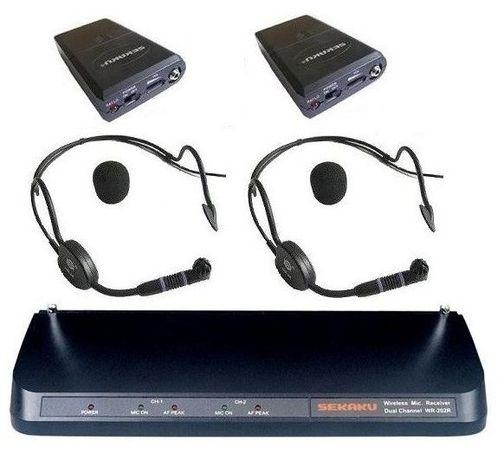 Profesjonalne mikrofony bezprzewodowe SEKAKU WR-202R - dwa nagłowne