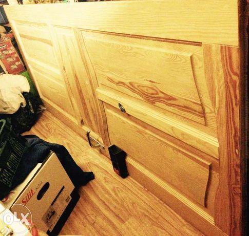 Drzwi z litego drewna + zamek gerda + chromowana klamka
