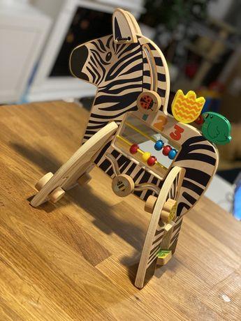 Drewniana Zabawka Zebra z drewna motoryczna