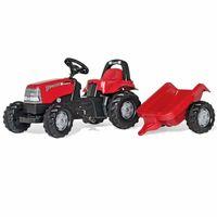 ciągnik traktorek dla dzieci traktor na pedały Case z przyczepką