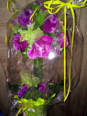 Bukiet kwiaty sztuczne róże doniczka 50cm prezent dekoracja Wielkanoc