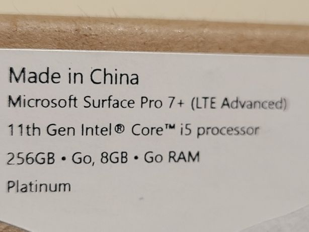 Microsoft Surface Pro 7+ 11gen i5 8gb 256gb with LTE