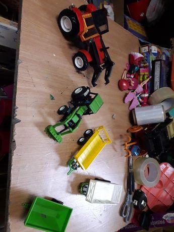 Zabawka retro traktor traktorki przyczepy prl