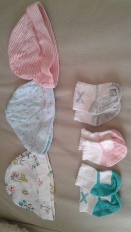 Шапочки и носочки для новорожденных (набор)