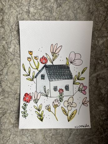 Kartka okolicznościowa domek kwiaty boho handmade