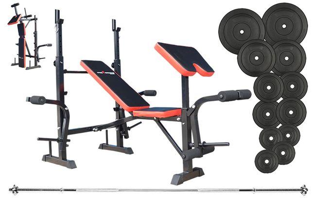 Tanio !!! Markowy zestaw 79 kg do ćwiczeń siłowych z ławką treningową