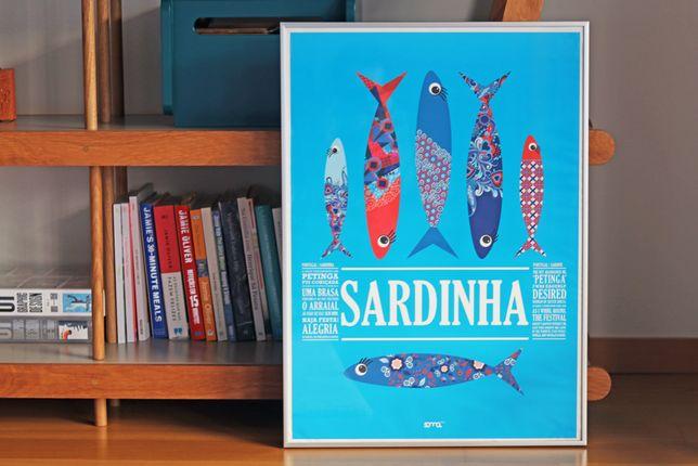 Poster emoldurado - Sardinhas Vintage - de grandes dimensões (50x70)!