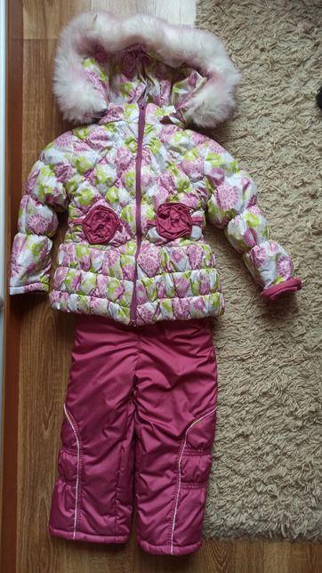 Теплый зимний комплект, костюм, комбинезон на девочку на меху р 98