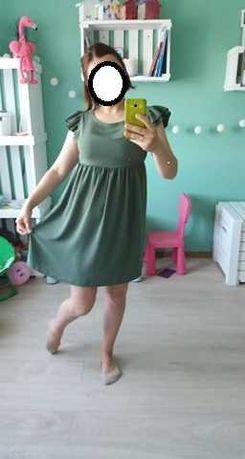 Elegancka i wygodna sukienka -oliwkowa