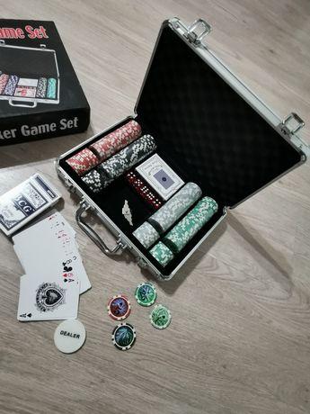 Покер M2779 в серебристом кейсе покерный набор с фишками с номиналом