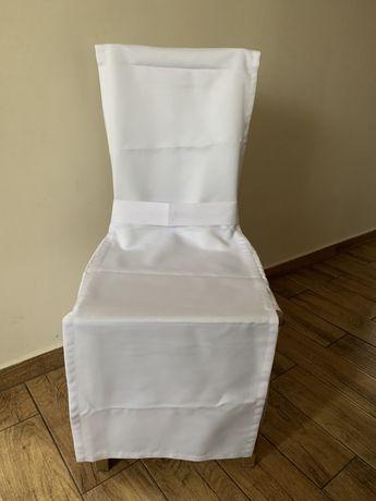 Zestaw. Biały pokrowiec na krzeslo. Biale pokrowce na krzesla.