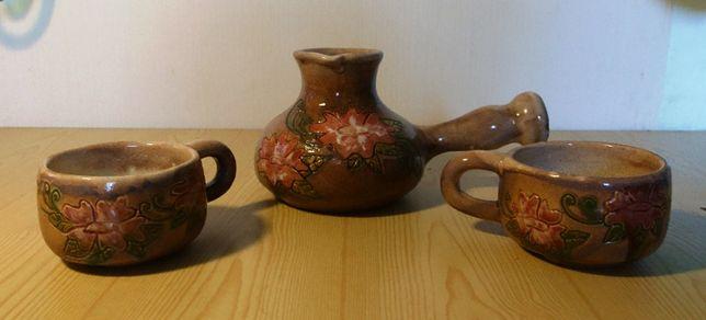 Кофейный набор. Турка и две чашки. Керамика