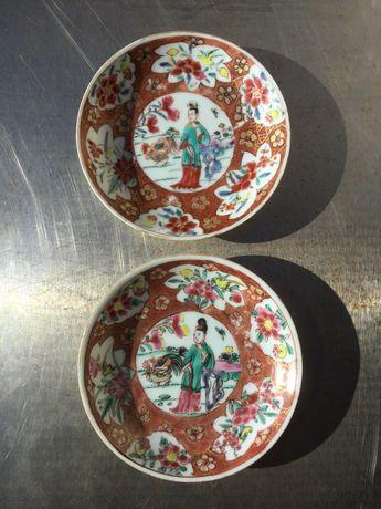 Dois covilhetes porcelana chinesa séc XVIII 10 cm Qing