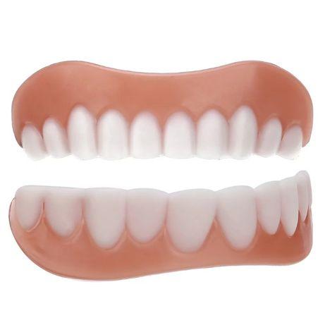 Sztuczne białe zęby górne i dolne