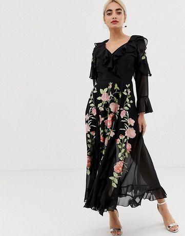 Sukienka Asos midi czarna haft falbany r.36/S
