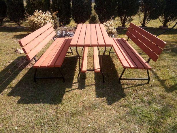 Komplet ogrodowy metal-drewno deska jodła.   Meble ogrodowe. TANIO!!!