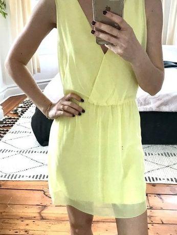 sukienka mini r XS 34 zara żółta cytrynowa wesele simple +gratis