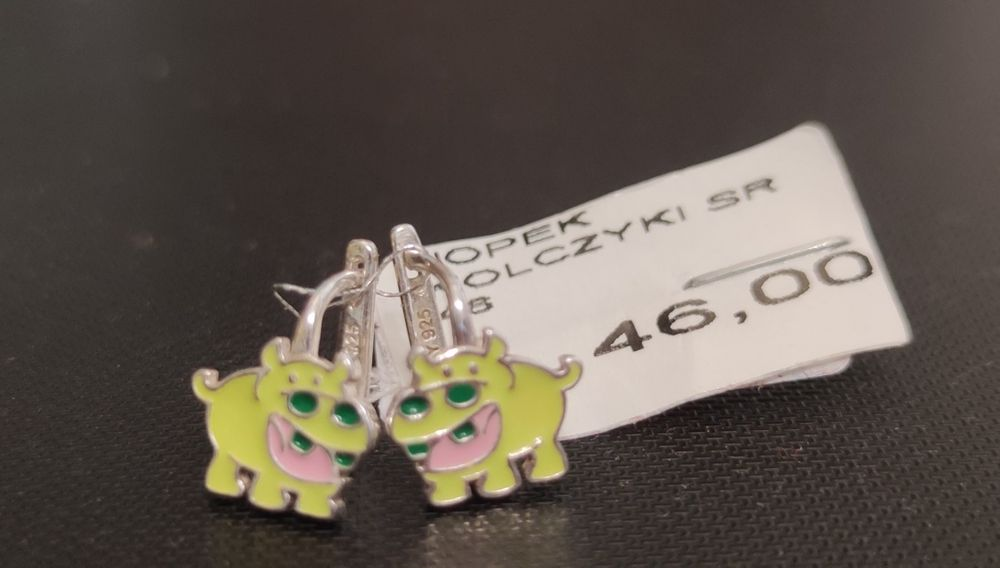 Kolczyki srebrne nowe dla dziewczynki hipopotamy Wrocław - image 1