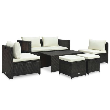 vidaXL 6 pcs conjunto lounge jardim c/ almofadões vime PE castanho 47808
