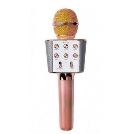 Беспроводной микрофон караоке блютуз WS-1688 Bluetooth динамик USB Роз
