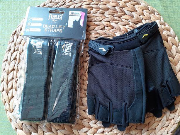 Komplet: Rękawice sportowe i paski do sztangi Everlast
