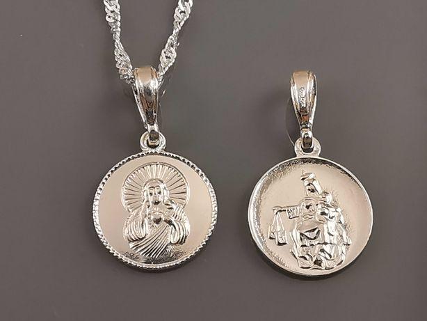 Srebrny łańcuszek z medalikiem dwustronnie zdobiony