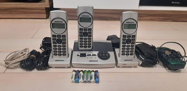 Telefon domowy stacjonarny Medion 3 sztuki jeden gratis