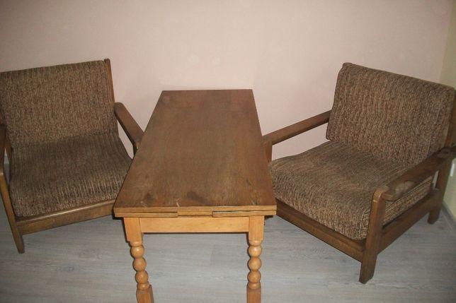 kanapa fotele i ławostół meble dębowe