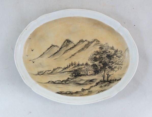 Prato Oval Artibus pintado e assinado; Assinado F. Alegria-19x25cm