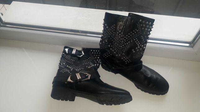 Кожаные ботинки на тракторной подошве с заклёпками zara размер 38