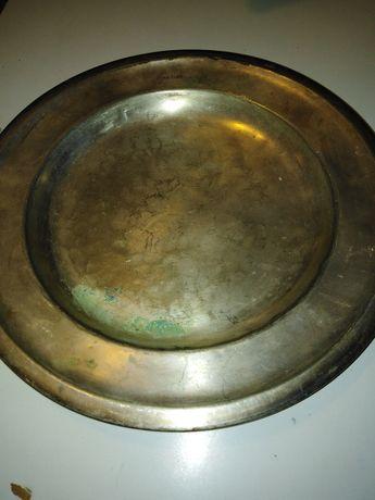 Lubelski talerz metalowy antyk