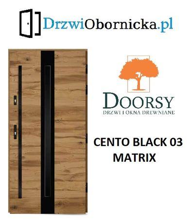 Drzwi DOORSY CENTO BLACK drewniane zewnętrzne wejściowe 100mm grubość