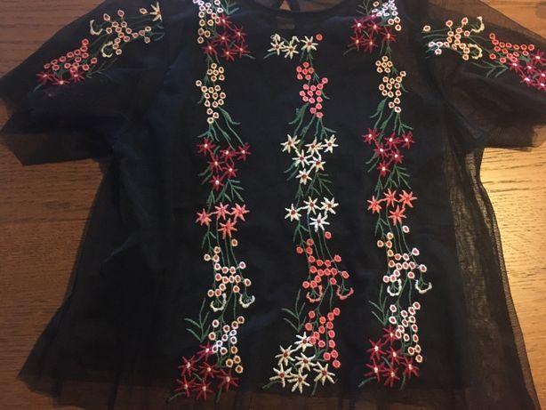 Tshirt ZARA tule preto, tam: 8 anos ( portes gratis)