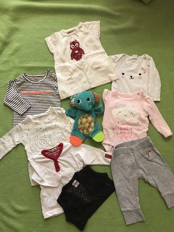 Пакет одежды комплект, размер 0-3. Кофты, бодик, лосины.