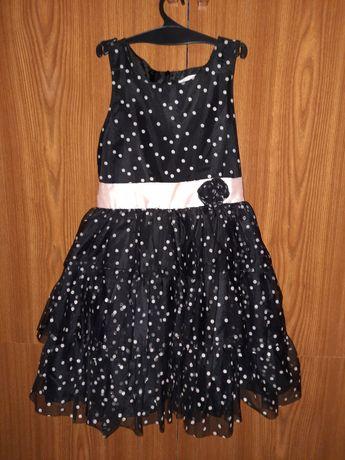 Нарядное платье в горох на 4-7 лет