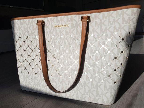 Michael Kors Jet Set Violet Vanilla Large Carryall Tote Handbag Purse