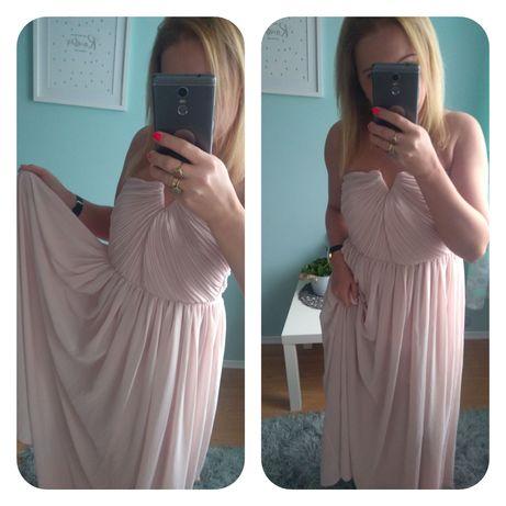 Maxi sukienka pudrowa h&M s/m