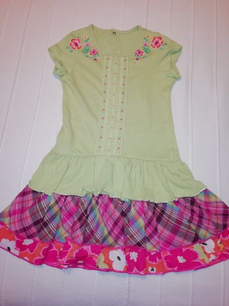 Vestido CATIMINI de menina verde alface com folhos