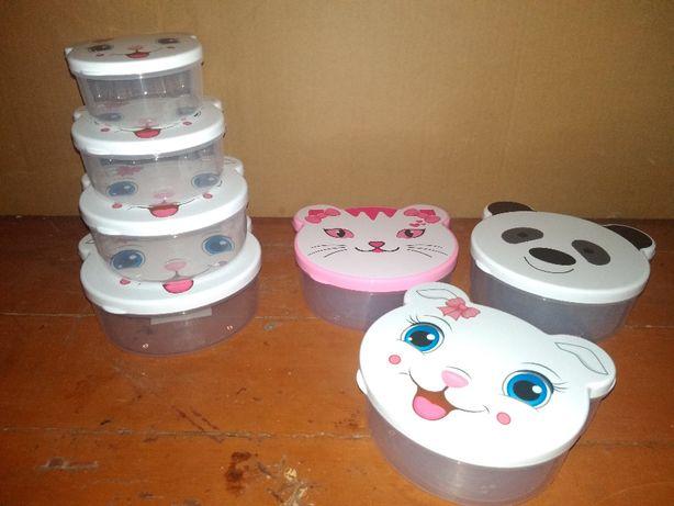судок детский набор 4 штуки с животными котик кошечка панда