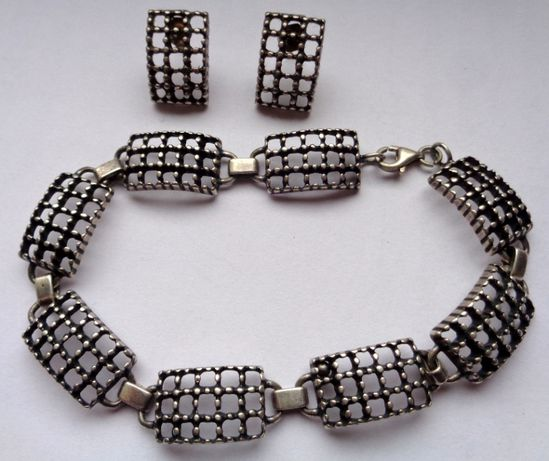 Srebrny komplet: bransoletka i kolczyki srebro