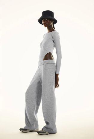 Новые серые женские спортивные широкие штаны штани брюки zara M 38