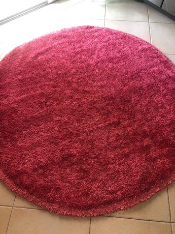 Carpete / tapete redondo rosa lavável na máquina