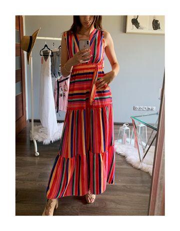 Długa sukienka w paski Kolorowa sukienka maxi z dekoltem V XS S M L