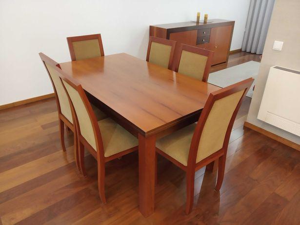 Mesa de Sala + 6 Cadeiras (Cerejeira / Wengue)